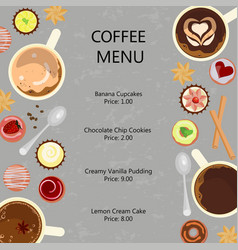 Cups of coffee and sweets vector