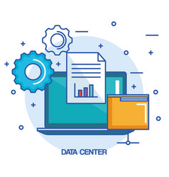 data center laptop computer folder document vector image vector image