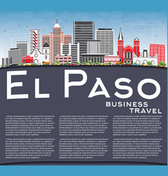 El paso skyline with gray buildings blue sky and vector