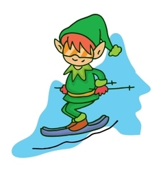 Elf ski helpers christmas art vector