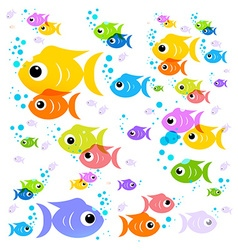 Fish Cartoon Colorful Fish Flat Design Transparent vector image vector image