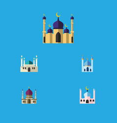 Flat icon mosque set of structure traditional vector