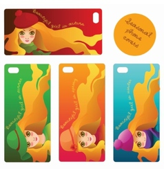 Four seasonal phone covers with beautiful girls vector