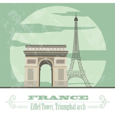 France landmarks retro styled image vector