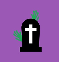 Headstone and zombie hands vector