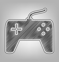 Joystick simple sign pencil sketch vector