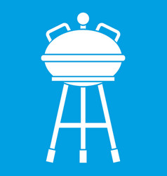 Kettle barbecue icon white vector