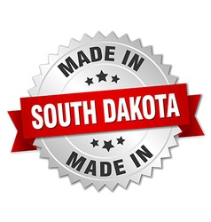 made in South Dakota silver badge with red ribbon vector image vector image