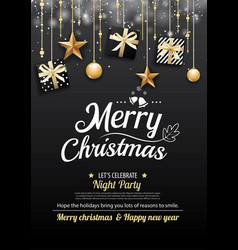 merry christmas party and gift box on dark vector image vector image