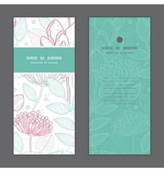 Modern line art florals vertical frame vector