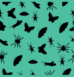 pattern of silhouettes of insects vector image vector image