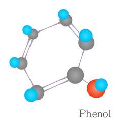 Phenol 3d molecule chemical science cartoon style vector