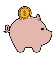 Piggy bank with coin saving or accumulation of vector
