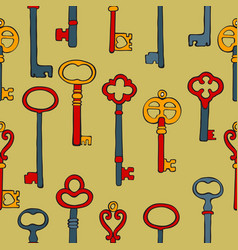 retro keys colorful seamless pattern vector image