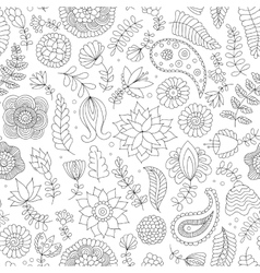 Seamless pattern black and white doodle flowers vector
