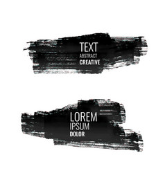 set of abstract black watercolor stroke banners vector image vector image