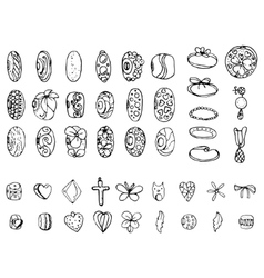 Set with stylized rings beads and charms for vector image vector image