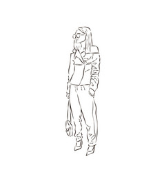 Sexy fashion girl silhouette drawing in sketch vector