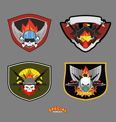 Special unit military logo set vector