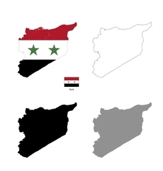 Syria country black silhouette and with flag on vector image