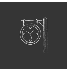 Train station clock drawn in chalk icon vector