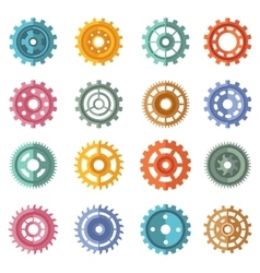 Various style color gears set vector image