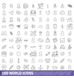100 world icons set outline style vector image vector image