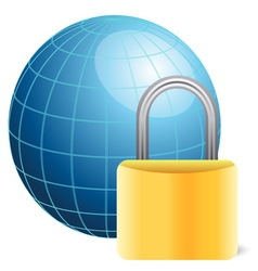 blue globe and golden padlock vector image