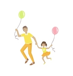 Dad playing with daughter air balloons vector