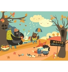 Cute animals walking in autumn forest vector