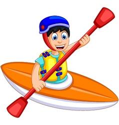 Funny boy cartoon play rafting vector