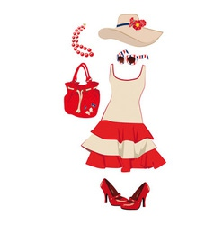 Summer womens clothing and accessories vector