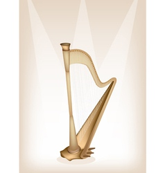 A beautiful harp on brown stage background vector