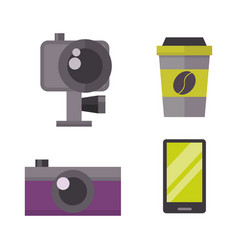 Retro photo camera and phone icon vector