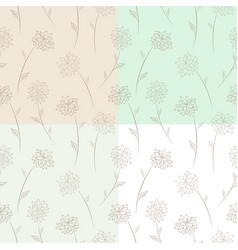 Four seamless floral pattern set vector