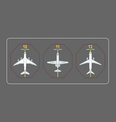 three airplanes on the terminal apron vector image