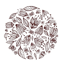 Flowers ornament circle background vector