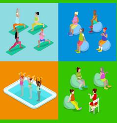 Isometric pregnant woman aqua aerobics fitness vector