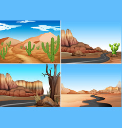 Four desert scenes with empty roads vector