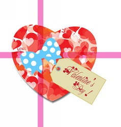 Valentine gift tag hearts card vector