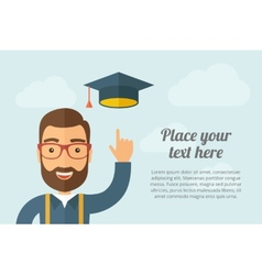 Man pointing the graduation cap icon vector