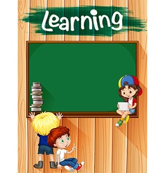 Children and blackboard on the wall vector