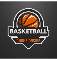 Basketball sports logo label emblem vector image