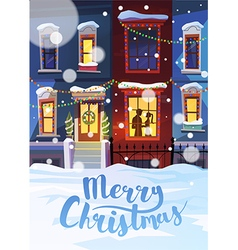 Winter street with christmas decorated homes and vector