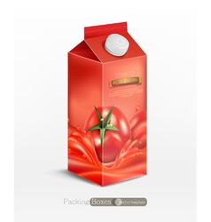 Pack of tomato juice with tomato isolated vector