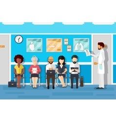 Patients in doctors waiting room vector
