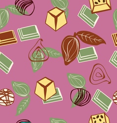 Background of assortment of chocolates and cacao vector