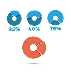 Set of blue circle diagram business chart elements vector
