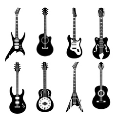 Set of black guitars icons vector