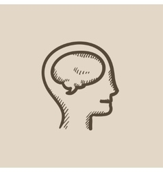 Human head with brain sketch icon vector image